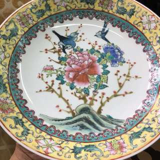 Vintage hand painted plate, famille rose