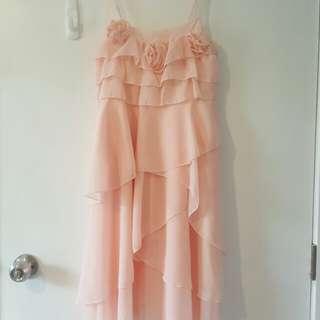 Peach Pink Chiffon Dress