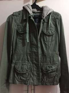 Army Green Jacket with Detachable Hood