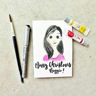 Customized portrait doodle Card with brushletterong