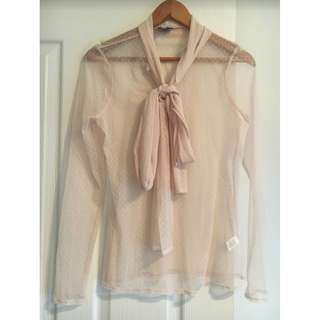 Witchery Sheer Pink Pussybow Blouse Top - Size S