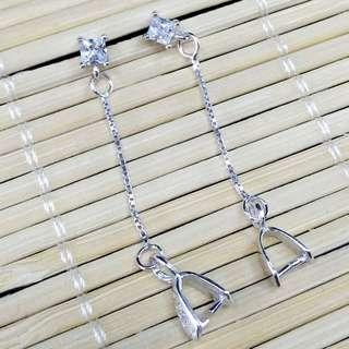 【林大漢直播拍賣】925純銀 鑽石長鏈水晶耳鈎 銀飾配件(帶夾扣)