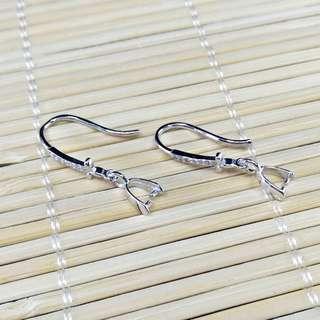 【林大漢直播拍賣】925純銀 十字水晶耳鈎 銀飾配件(帶夾扣)