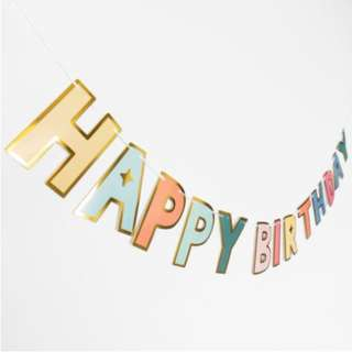Gold Outline Rainbow Colours Happy Birthday Lettering Banner