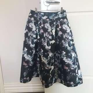 Black blue floral skirt