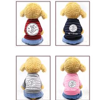 88雜貨鋪 寵物衣服 奶瓶熊條紋牛仔四腳衣 貓狗衣服 馬爾濟斯/貴賓/博美/吉娃娃