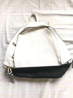 Korean Inspired White Leather Backpack