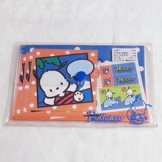 1996年絕版 Pochacco PC狗 公仔圖案 信封信紙膠筆袋