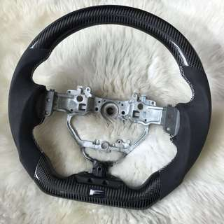 Genuine Carbon Fiber Steering Wheel with Alcantara Leather