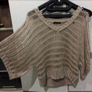 Sweater batwing top crop