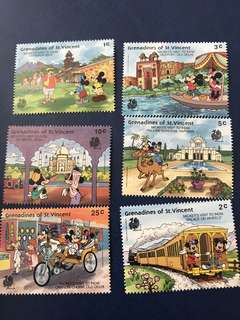 聖文森米奇遊印度迪士尼郵票 一套六張