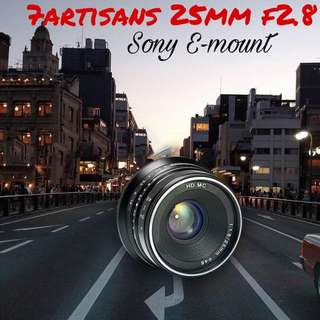 7artisans 25mm F1.8 Manual Focus Prime Fixed Lens for Sony Emount Cameras