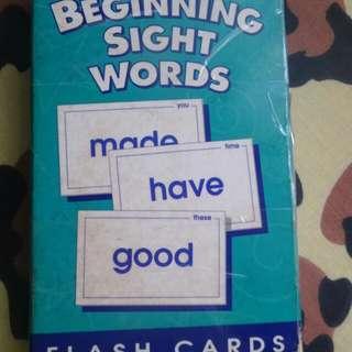 English beginning sight words flash cards