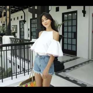 White Off Shoulder coloured butterfly sleeves tank TOP