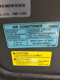 Car air con Nissan Latio 0.45 kg R134a gas