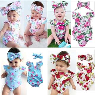 ❤INSTOCK❤ Baby Girl Floral Romper with Headband Set