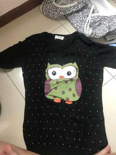 owl black semi long sleeve knit sweater