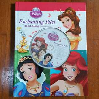 Like new! >50%off! Disney Princess Enchanting Tales hardcover story book & CD