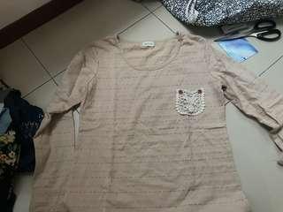cream beige pocket long sleeve (hnm)