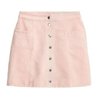 a-line button down pink skirt