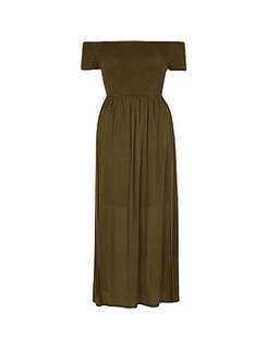 River Island khaki green long bandeau maxi dress 12