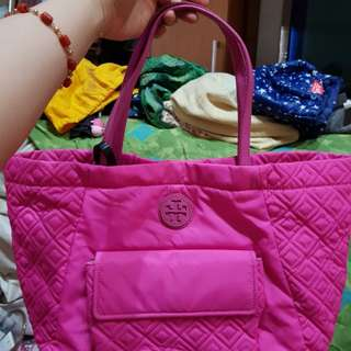 Authentic Tory Burch Quilted Pink Tote