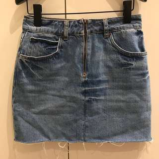 SANDRO High Rise Raw Hem Light Denim Mini Skirt Size 2