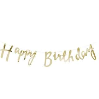 Gold Script Font Happy Birthday Banner Bunting