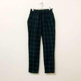 🚚 正韓貨深藍綠格紋腰鬆緊帶打摺附口袋假口袋可反折七分褲老爺褲