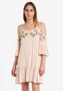 River Island cream embroidered floral cold shoulder dress 12