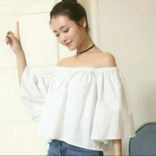 korean off-shoulder white top