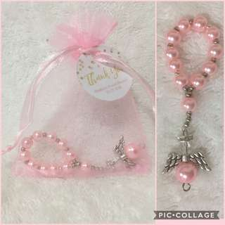 souvenir(angel mini rosary in organza pouch)