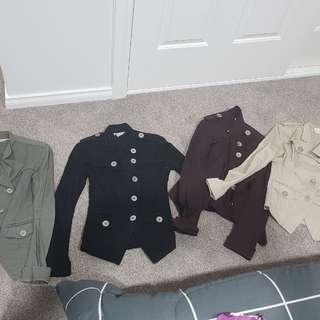 All lot four $25 Supre jacket xs xxs military army silver chrome buttons khaki black cream beige