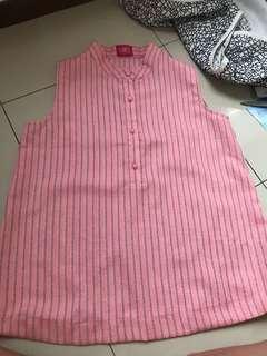 pink stripe button tank (kuki)
