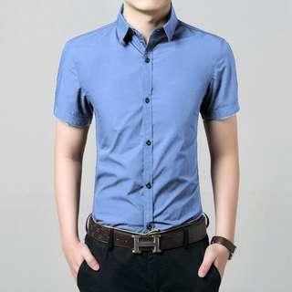 [corta soft blue OT] kemeja pria katun stretch biru muda