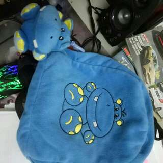 Blue hippo soft cotton bag