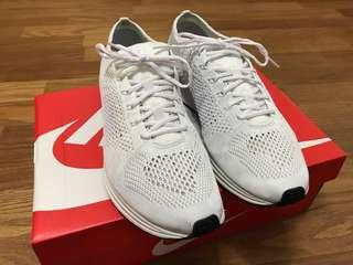 """【二手美品】Nike Flyknit Racer """"Pure Platinum"""" 全白 US10.5"""