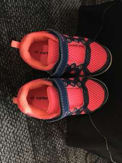 Carter's hot pink and blue Velcro sneakers