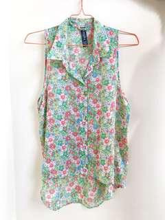 Baju Wanita - Sleeveless Flower Shirt - Factorie