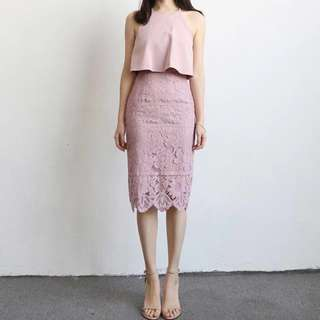 Blush Pink Layered Lace Dress