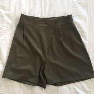 Boohoo khaki shorts high waisted