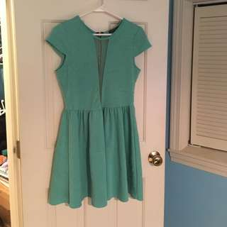 Mint Green Dress with Mesh Inset