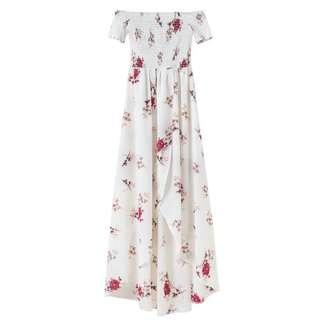 PO // Clover Floral Print Smock Off Shoulder Slit Dress // OBF011