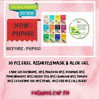 30 pcs Ekel Assorted Mask and 1 Aloe Vera Gel