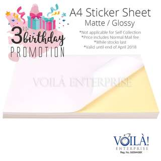 *Birthday Promotion* A4 Sticker Glossy/Matte