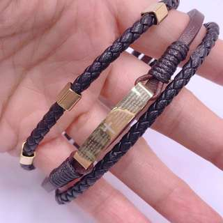 Keep the faith leather bracelet