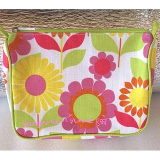 CLINIQUE SUMMER BLOSSOM COSMETIC MAKE-UP TOILETRY POUCH PURSE
