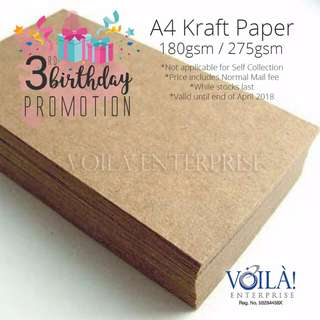 *Birthday Promotion* A4 Kraft paper 180gsm/275gsm