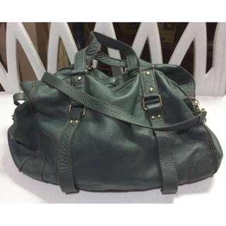 Genuine Leather Classy Bluish-Green 2 Way Satchel Bag