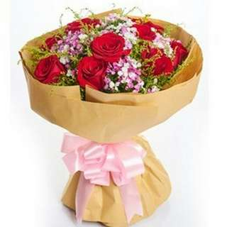 Fresh Flower Bouquet Anniversary Birthday Flower Gifts Graduation Roses Sunfowers Baby Breath -  53677     75